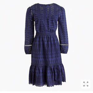 J. Crew Navy Cotton Eyelet Long Sleeve Midi Dress